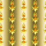 Yellow iris flower seamless pattern background. Royalty Free Stock Image