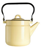 Yellow iron kettle. On a white isolated background Stock Photography