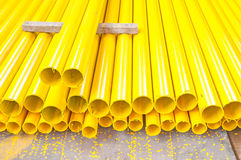 Yellow iron pipe Stock Photo