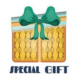 Yellow, isolated gift with pattern, blue bow Stock Photos