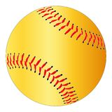 Yellow Isolated Softball. A yelow isolated softball with red stitching stock illustration