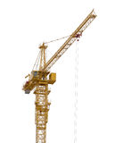Yellow isolated on white hoisting crane Royalty Free Stock Photos