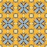 Yellow italian ceramic tile seamless pattern backgrounds. Traditional ornate talavera decorative color tiles azulejos stock illustration