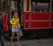Yellow jacket woman Stock Photography