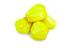 Yellow jackfruit isolated on white background. Royalty Free Stock Images