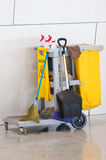 Yellow Janitor Cart. Yellow Janitor Cart With Cleaner Equipment Stock Image
