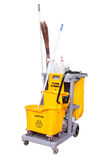 Yellow janitor cart. Isolated over white background Stock Image
