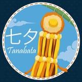 Yellow Japanese Fukinagashi under Bamboo Branch for Tanabata Festival, Vector Illustration Stock Images