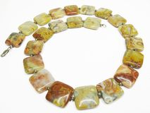 Yellow jasper necklace Royalty Free Stock Photo