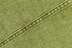 Yellow jeans cloth texture with stitch. Stock Images
