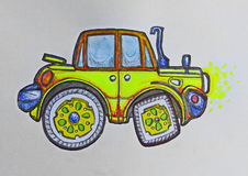Yellow jeep car. Drwaing in profile stock illustration