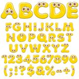 Yellow jelly alphabet, letters, numbers and characters with eyes. Isolated colored vector objects. Yellow jelly alphabet, letters, numbers and characters with royalty free illustration