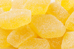 Yellow jelly candies closeup Royalty Free Stock Images