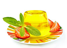 Yellow jelly and strawberry Stock Photography