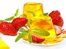Yellow jelly and strawberry Royalty Free Stock Image