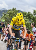 Yellow Jersey on Alpe D'Huez. Alpe-D'Huez,France- July 18, 2013: The British cyclist Christopher Froome wearing the Yellow Jersey, followed by Alejandro Valverde Royalty Free Stock Images