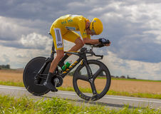 Yellow Jersey- Bradley Wiggins. Beaurouvre,France, July 21 2012:Image of the winner of the Le Tour de France 2012,the British Bradley Wiggins (Sky Procycling Stock Image