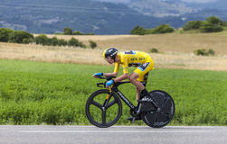 Yellow Jersey- Christopher Froome. Chorges, France- July 17, 2013: Image of the winner of the 100th edition of Le Tour de France 2013,the British Christopher Stock Photography