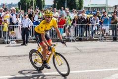 Yellow Jersey- Fabian Cancellara. Rouen,France, July 5th 2012: The Swiss cyclist,Fabian Cancellara (Radioshak-Nissan team), wearing the Yellow Jersey riding to Stock Photo