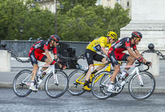 Yellow Jersey in Paris - Tour de France 2016. Paris, France - July 24, 2016: Chriss Froome of Team Sky wearing the Yellow Jersey, Greg Van Avermaet and Damiano Stock Photography