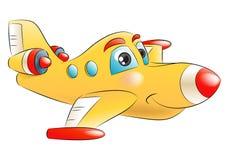 Yellow jet plane flying away Stock Images