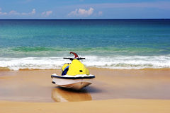 Yellow jet ski Stock Photography