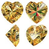 Yellow jewellery heart shape isolated royalty free stock image