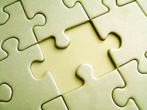 Yellow jigsaw. With one missing element stock image