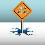 Yellow job sign. Abstract colorful background with a yellow sign with the text jobs ahead coming out from an ice crack Stock Images