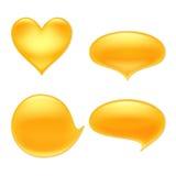 Yellow juice or honey blots set Stock Image