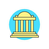 Yellow justice building on blue circle Stock Photos