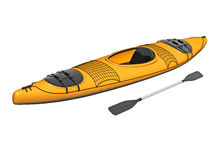 Yellow kayak Stock Image