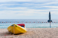 Yellow Kayak. On the beach Stock Photo