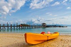 Yellow kayak on beach Royalty Free Stock Image