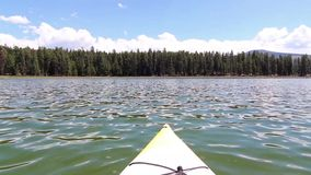 Yellow Kayak on Davis Lake, Oregon Royalty Free Stock Photography