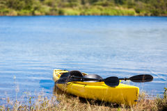 Yellow Kayak Ready to be Used Stock Photography
