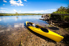 Yellow Kayak Ready to be Used Royalty Free Stock Photos