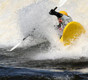 Yellow Kayak Splash Royalty Free Stock Image