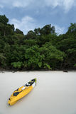 A yellow kayak on a tropical beach over green trees background. Royalty Free Stock Photo