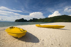 Yellow kayaks Stock Images