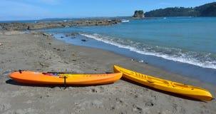 Yellow Kayas in Matheson Bay New Zealand Stock Image
