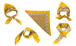 Yellow kerchief-bandana with a pattern, isolated Royalty Free Stock Photography