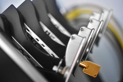 Yellow Key from server rack. With multiple hard drives.(picture from top Royalty Free Stock Photos