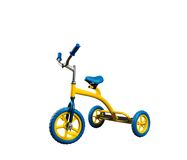 Yellow kid's bicycle isolated Stock Photography