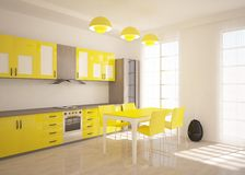 Yellow kitchen Royalty Free Stock Photo