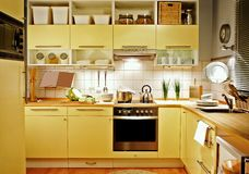 Yellow kitchen Stock Images