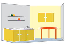 Yellow kitchen. Sunny home, table Stock Image