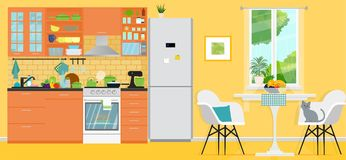 Yellow kitchen with furniture. Cozy modern kitchen interior with table, stove, cooker hood, kitchen drawers. Vector. Vector illustration. Painted in shape stock illustration