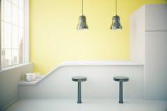 Yellow kitchen interior Stock Photos