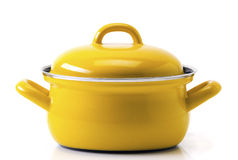 Yellow kitchen pot. Isolated on white background royalty free stock images